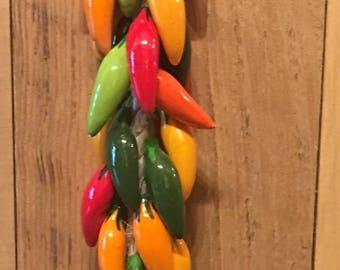 Multi Color Mini Chili Peppers on a String / Chili Peppers / Hanging Mini Chili Peppers / Ceramic Chili Peppers / Peppers