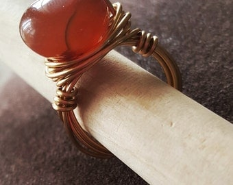 Carnelian Gold Wire Wrapped Ring