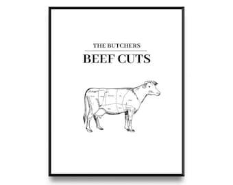 Butcher print, butchers chart, beef cuts poster, butcher diagram, beef cuts, cooking art print, butcher cuts, kitchen print, printable art
