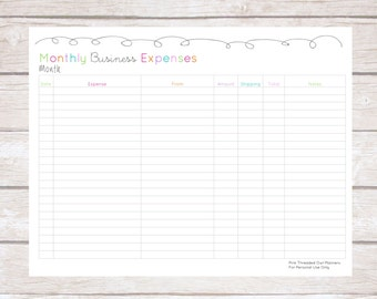Monthly Business Expense Tracker, Plan Your Week, Organized, Editable, Small Business Planner, Handmade Creations