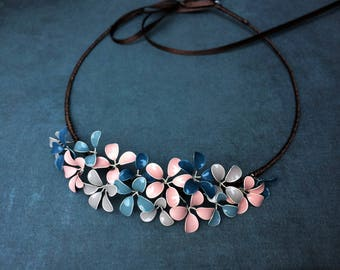Hair Crown with delicate blossoms in blue grey pink