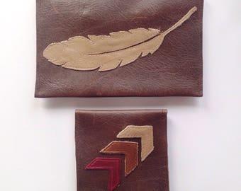 Southwestern Feather Leather Bag Set