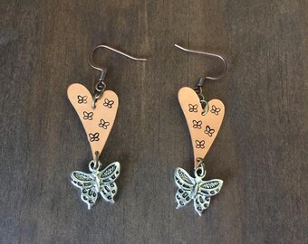 Butterfly Hand Stamped Earrings, Butterfly Heart Earrings, Copper Hearts, Women and Girls Jewelry, Birthday Gift, Hand Stamped Jewelry
