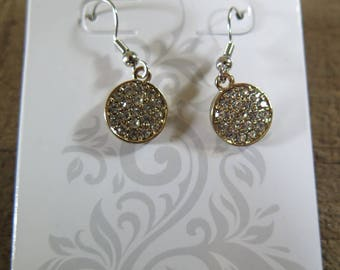 Gold round sparking dangle earrings