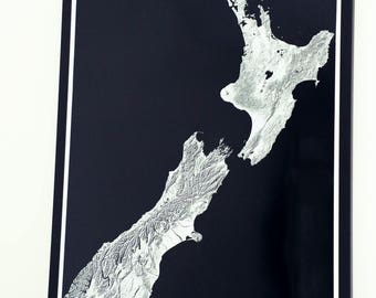 New Zealand map printed poster in high resolution on photo paper, NZ maps, Kiwis, All Blacks, beautiful maps, MAPHIGH