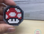 FREE SHIPPING Super Mario health up mushroom keychain in red | gaming keychain | custom color keychain | cross stitch keychain | needlepont