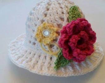 Crochet Cloche Sun Hat, 0-3 mths, girls sun hat.