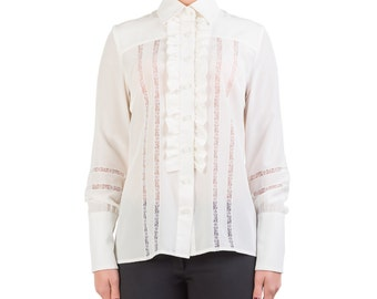 Shirt in crepe de chine, handmade PIECE size (it 42 - eu 38 - uk 10 - us 6) PROMOTIONAL PRICE