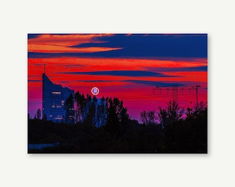 """Wall painting """"Sunset in Leipzig"""". Canvas 