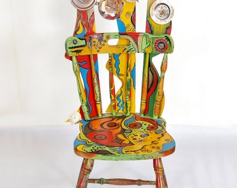 Painted Furniture/Hand- Painted Chair/Custom Painted Personalized Chair/ Painted Wooden Chair/Decoration