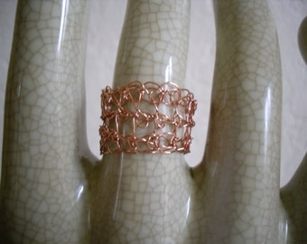 Crocheted copper wire ring
