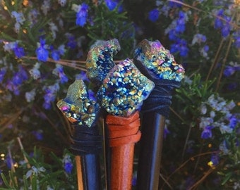 Rainbow titanium quartz crystal hairstick