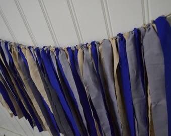 Blue Tan Gray Fabric Banner, Blue Tan Gray Bunting, Blue Tan Gray Rag Banner, Baby Boy Rag Banner, Baby Shower Banner, Fabric Banner