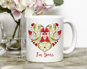 Heart Coffee Mug - Valentines Mug - Anniversary Gift