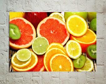 Sliced Fresh Fruits wallpaper decoration photo poster