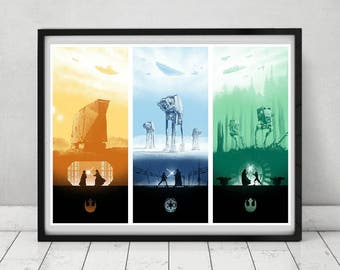 Star Wars Classic Trilogy  Episode 4 5 6 Alternative Minimalist Minimal Artwork Movie Film Poster Wall Decor Print Art Deco