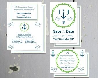 Printable Nautical Blue & Green Invitation