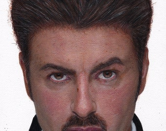 Print of George Michael drawing - Pencil and Pastel