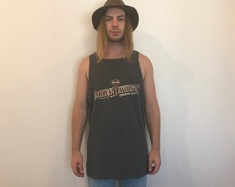 Vintage Harley Davidson Light Black Singlet