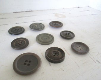 Vintage Gray Button Collection, Button Assemblage Art, Button Jewelry, Sewing Salvage