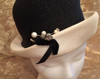Straw Bucket-style Hat - 1950's; Black and White