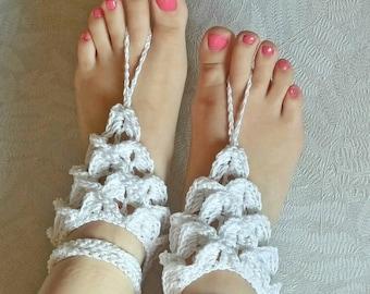 Barefoot sandals - beach wedding barefoot sandals - Boho chic - crocodile stitch crochet - barefoot wedding - dragonscale sandals