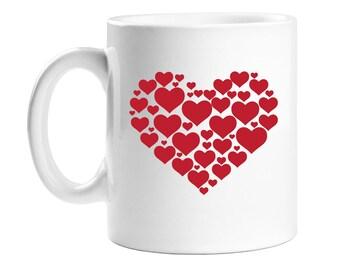 Coffee Mug - Red Hearts - Birthday Gift - Holiday Gift  - WCM11OZ-ED23G