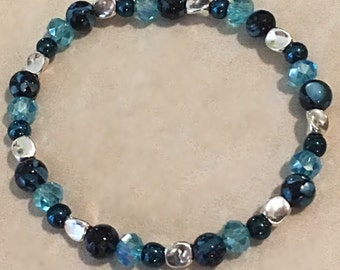 Onyx, turquoise & silver plated beaded bracelet