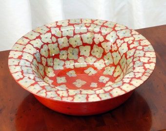 Red Lacquer Wood Bowl