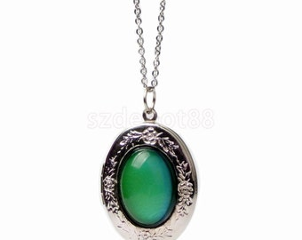 Womens Vintage Oval Stone Color Change Mood Emotion Pendant Necklace Jewelry