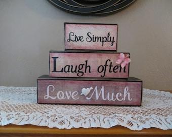 Live Laugh Love Wooden Blocks Inspiration Home Decor