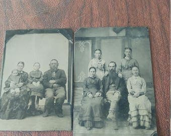 Family Portrait:  Lot of 2 Antique Tintype Photographs of Families