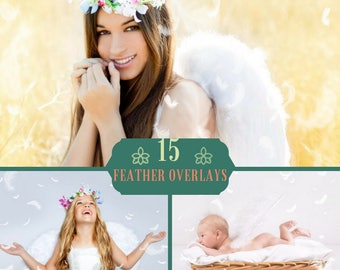 15 Feathers Overlays, Photoshop Overlays, Feathers Overlay, Wings Digital backdrop Overlays, Feather Overlay, Newborn Child Feather Effect