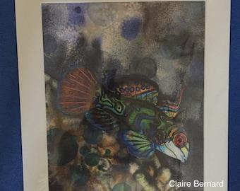 Print from an original painting - manderin fish - fine art