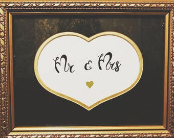 Framed art Mr and Mrs