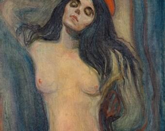 Madonna by Edvard Munch 1894 | Giclée Fine Art Archival Pigment Print; Art Poster, Edvard Munch Fine Art Print Giclée Art Reproduction
