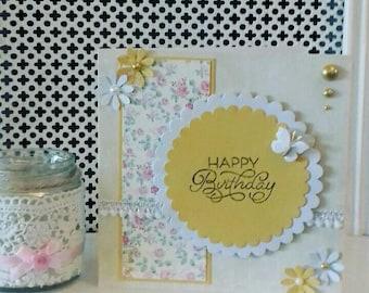 Yellow birthday card, happy birthday card, floral birthday card, female birthday card, pretty birthday card, yellow flowers, classy card