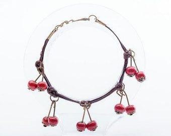 Ceramic Cherry Bracelet