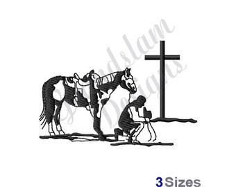 Praying Cowboy - Machine Embroidery Design