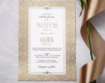 Luxurious Gatsby Glamour Wedding Invitation, Foil Finish 116128