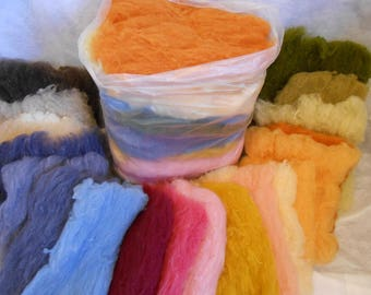 A 20 batt Assortment of natural and plant dyed carded wool  1  1/4 pounds of color for needle or wet felting and other fiber art crafts.
