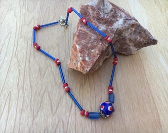 Red, white & blue glass beaded necklace