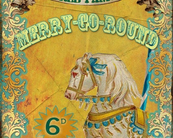 Merry Go Round  Fairground Vintage Retro Style Metal Sign Funfair Circus Carnival Great Collectable