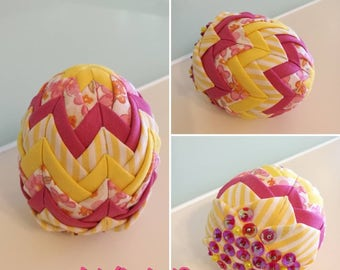 Easter egg ornaments, fabric easter decorative eggs, folded fabric easter egg, quilted Easter egg, Easter decor, artichoke easter egg