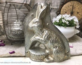 Vintage chocolate form Hare Easter Bunny nest 18 cm chocolat mold baking tin rabbit easter bunny brocante shabby chic cottage deco easter