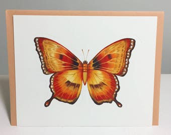 unused vintage greeting card // 1970s // butterfly wings // 3D // fold out // beautiful // pretty // yellow // orange // moth