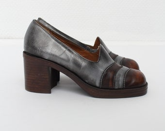 Vintage Eralux Brown And Grey Leather Heel Shoes