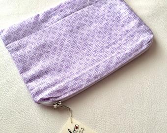 Romantiva Lilac Flowers inside clutch bag zig zag