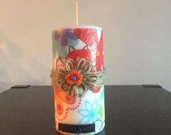 Vela flores decoupage / Candle Decoupage