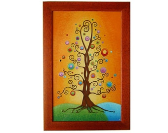 Tree of Life Original Painting Orange Wall Decor, Glass Painted Tree Wall Picture Wedding Gift for Couple, Tree Home Decor, Anniversary Gift